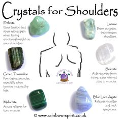 Rainbow Spirit crystal shop crystal set of tumble stones with healing properties to treat shoulder pain