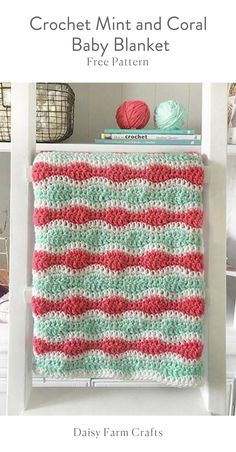 Crochet Mint and Coral Baby Blanket
