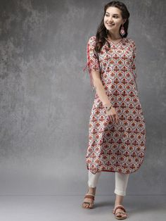 Buy Anouk Women White & Red Printed Straight Kurta - Kurtas for Women 2472850 Printed Kurti Designs, Simple Kurti Designs, Churidar Designs, Kurta Designs Women, Sleeves Designs For Dresses, Dress Neck Designs, Blouse Designs, Kurta Patterns, Neck Patterns For Kurtis
