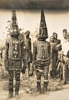 Africa | Kwoho dancers.  Edo region, Nigeria.  Early 1900s.  | Photographer;  Thomas Northcote.