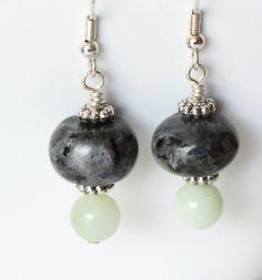 Black Bead Earrrings Bead Dangle Earrings Black Stone by ScoSiCa, $14.50