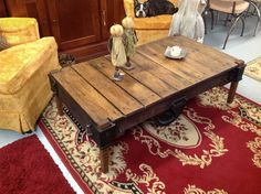 Industrial factory cart coffee table.