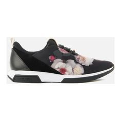 Ted Baker Women's Cepap Runner Trainers (1.045 NOK) ❤ liked on Polyvore featuring shoes, sneakers, black, floral sneakers, low profile sneakers, black rubber sole shoes, black low top sneakers and bow sneakers