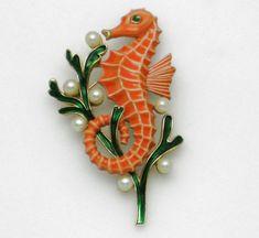 Rare CROWN TRIFARI Under the Sea Figural Seahorse Pin Brooch