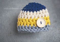 newborn hat for boys, navy mustard cream gray crochet baby boy hat on Etsy, $12.00