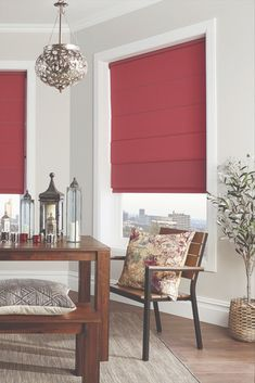 Red is the colour of power and passion. Make a bold statement with punchy red blinds on your windows. Red Blinds, Blinds For Windows, Curtains With Blinds, Blinds Online, Interior Styling, Interior Design, Window Styles, Roman Blinds, Red Interiors