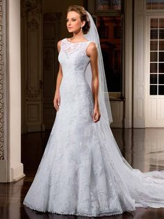 Vestido De Noiva Renda Lace Boat Neckline A line Wedding Dresses with Buttons back