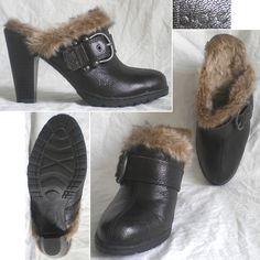 Sharp, Warm 6s  -  B.O.C. Born Women's Shoes Clogs Mules Heels Faux Fur Brown 6 / 36.5 Mint $35.99