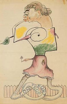 """Cadavre Exquis ""  Participant: Joan Miró, Yves Tanguy, Max Morise, Man Ray (1925)"