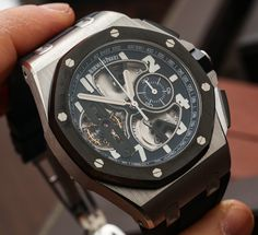 Audemars Piguet Royal Oak Offshore Tourbillon Chronograph Watch In Platinum Hands On   hands on