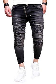 8fe8127d63 Behype Men's Jeans Pants Regular Fit With Pockets Washed RJ-5012 (Black,W31