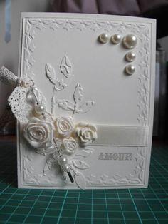 All white wedding card