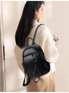Fashion Rivet Design Brown Backpack Women High Quality Leather Backpacks Female Casual Travel Bag Girls Travel Rucksack Outfit Accessories From Touchy Style