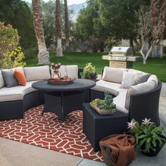 Belham Living Meridian 5 Piece All Weather Wicker Sofa Sectional Patio Dining Set | from hayneedle.com