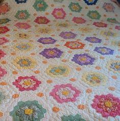 Grandmother's Flower Garden Quilt | ... Stitched & Hand Quilted Grandmother's Flower Garden Quilt Pink Back