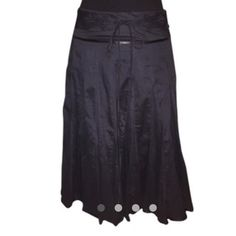 ❤️EXPRESS BOHO SKIRT❤️ Pretty black flowy skirt with attached belt that has an embroidered design.. Lined and has accent ribbon detail with side zip.  DB-2 Express Skirts