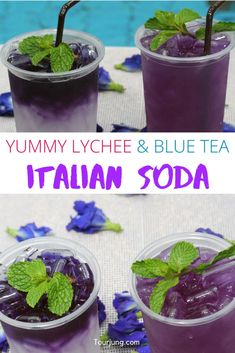 Yummy Lychee and Blue Tea Italian Soda This drink is one-of-a-kind, it's a mixture of lychee, honey, soda and butterfly pea flowers. Lychee Soda, Butterfly Pea Flower, Flower Tea, Fun Drinks, Healthy Drinks, Beverages, Italian Sodas Recipe, Cooking