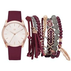 True Craft  Gold-Tone Plain Watch With Friendship Bracelet Set featuring polyvore, women's fashion, jewelry, watches, dark red, goldtone jewelry, gold colored jewelry, gold tone jewelry and gold-tone watches