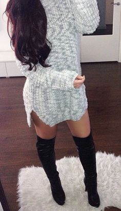 #fall #fashion / gray sweater dress