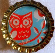 Retro Owl bottle cap magnet by CslayerD on Etsy, $1.00