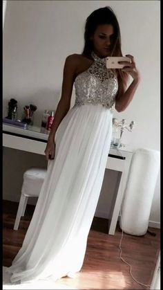 White Beading Halter Floor-length A-line Chiffon Prom Dresses Prom Gowns,Prom Dresses Cheap Prom Dresses, Long Prom Dress Graduation Dresses Long, Elegant Prom Dresses, Prom Dresses For Sale, A Line Prom Dresses, Prom Gowns, Dresses For Teens, Homecoming Dresses, Evening Dresses, Party Dresses