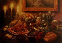 "Saatchi Art Artist ΑγγελικΗ  Aggeliki; Painting, ""Candlelight dinner"" #art Oil on Canvas.  Size: 70 H x 100 W x 2 cm"