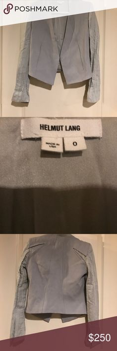 Helmet Lang Gray angled  wool silk blazer Incredible sharp blazer. Authentic Helmut Lang size 0 seems like it might fit up to a small size 4. Extremely well constructed with gorgeous hidden zipper pockets. Silk and wool. Worn a handful of times in excellent used condition. Helmut Lang Jackets & Coats Blazers
