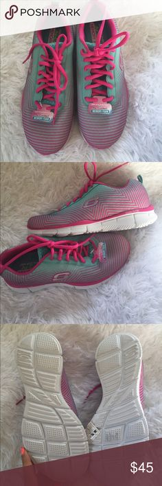 NWT Skechers memory foam sneakers Brand new skechers air cooled memory foam sneakers. Size 7.5 pink and blue. Skechers Shoes Athletic Shoes