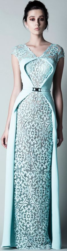 Saiid Kobeisy 2016 light pale aqua blue textured patterned lasercut gown dress
