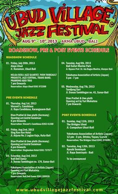 Ubud Village Jazz Festival - Roadshow, Pre and Post events schedule - August 2013
