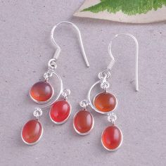 925 SOLID STERLING SILVER RED ONYX ANTIQUE EARRING NEW JEWELLERY 3.85g ER0662 #Handmade #Earring