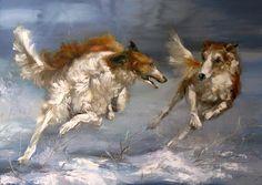Kravchenko, Oksana (b,1971)- Borzois Running