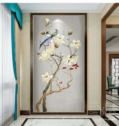 cleaning walls - Fine Brushwork Chinoiserie Birds and Flowers Wallpaper Wall Mural, Oritental Chinoiserie Birds&Flowe Flores Wallpaper, Wallpaper Wall, Chinoiserie Wallpaper, Glass Design, Door Design, Wall Design, Cleaning Walls, Decoration Design, Wall Stickers