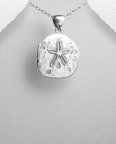 STERLING SILVER SAND DOLLAR STARFISH PENDANT NECKLACE