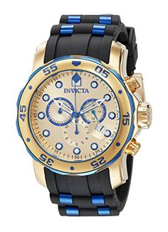 Invicta Men's 18041 Pro Diver Two-Tone Stainless Steel Watch With Black Polyurethane Band >>> Find out more about the great product at the image link.