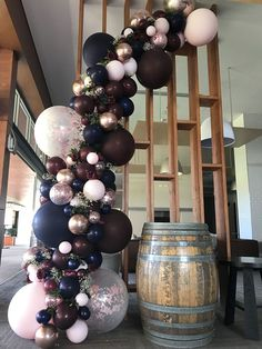 Burgundy, navy and rose gold balloon garland Stylish Soirees Perth - Balloon Decorations 🎈 Wedding Balloon Decorations, Wedding Balloons, Birthday Decorations, 21st Decorations, Rose Gold Christmas Decorations, Christmas Balloons, Party Planning, Wedding Planning, Wedding Ideas