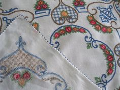 Cross Stitch Tablecloth Small Handmade Needlework    Beautifully cross stitched one of a kind small tablecloth. This would have taken hours and