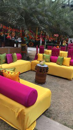 Photo From Punjabiyan Da Tashan - By Designer Events Inc. Desi Wedding Decor, Wedding Hall Decorations, Backdrop Decorations, Wedding Stage, Wedding Ideas, Mehendi Decor Ideas, Mehndi Decor, Outdoor Indian Wedding, Sitting Arrangement