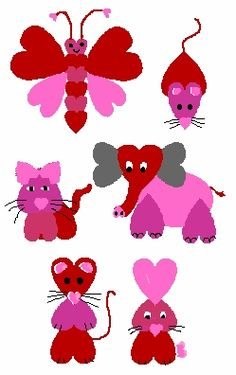 Paper Heart Animals: construction paper in Valentine colors, scissors, markers, glue. Opt: heart shaped stickers, heart shapes from fabric, yarn, buttons, heart shaped patterns, pre-cut hearts for younger kids. You can let older kids draw & cut out hearts & add details. Show them how to fold paper in half to make heart.