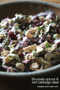 Brussels Sprout and Red Cabbage Slaw from @BangerMashChat #FamilyFoodies #Vegetarian
