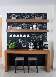 Coffee bar in a small apartment with decor from hobby lobby and a ...