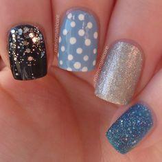 Spots and Glitter from Manic Manicure Manicure, Nails, Nail Polish, Nail Art, Glitter, Beauty, Nail Manicure, Finger Nails, Ongles