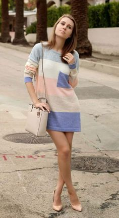 Pastel Stripes Oversized Sweater/Dress and Heels Cool Outfits, Fashion Outfits, Women's Fashion, 2014 Fashion Trends, Fade Styles, Pastel Fashion, Dress And Heels, My Style, Style Blog