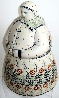 Polish Pottery Cookie Lady Woman Grandma Jar