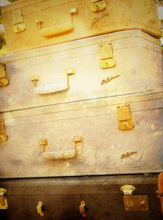 Baggage  Vintage Luggage Suitcases Industrial by AnnaDelores, $25.00