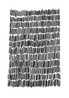 Impression Giclee Art du dessin Original d'encre abstraite, Mod, noir, blanc, pluie, lignes, Elizabeth Ellenor
