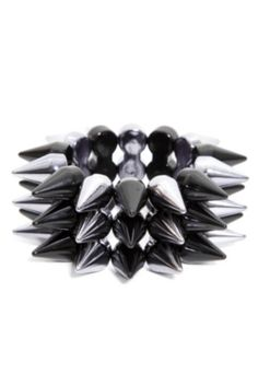 Silver And Black Spikes Stretch Bracelet inspired by #Rihanna. Shop #DMLooks at DivaMall.tv
