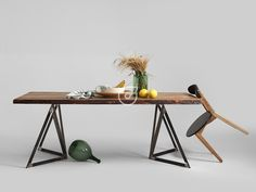 Wooden dining table. Made in Poland. Design. Simple.