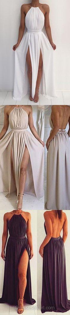 a70db4fbec0 Summer A-line Halter Chiffon Floor-length Split Front Backless Prom Dresses