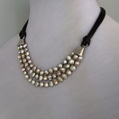 leather and pearl jewelry | Gray pearl designer necklace black leather choker silver clasp from ...